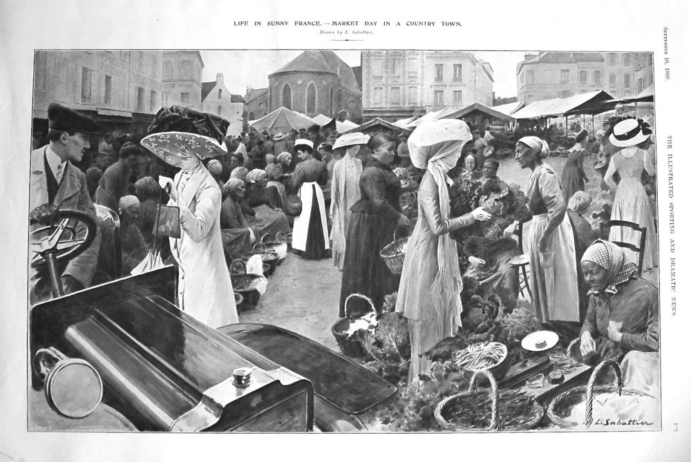 Life in Sunny France. - Market Day in a Country Town. 1909