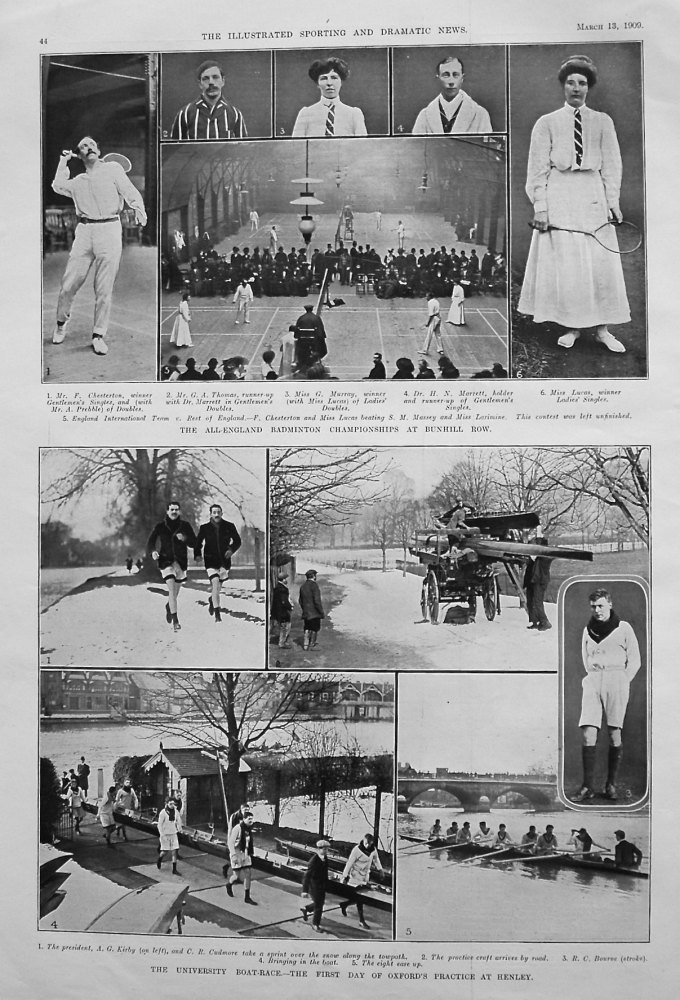 The All-England Badminton Championships at Dunhill Row. 1909