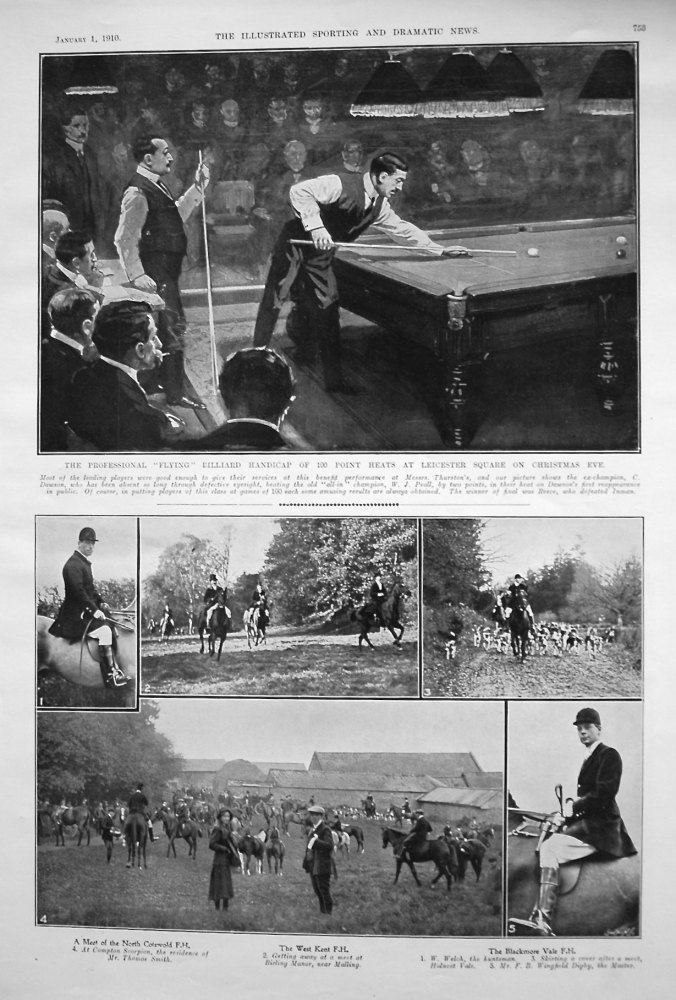 """The Professional """"Flying"""" Billiard Handicap of 100 Point Heats at Leicester Square on Christmas Eve. 1910"""