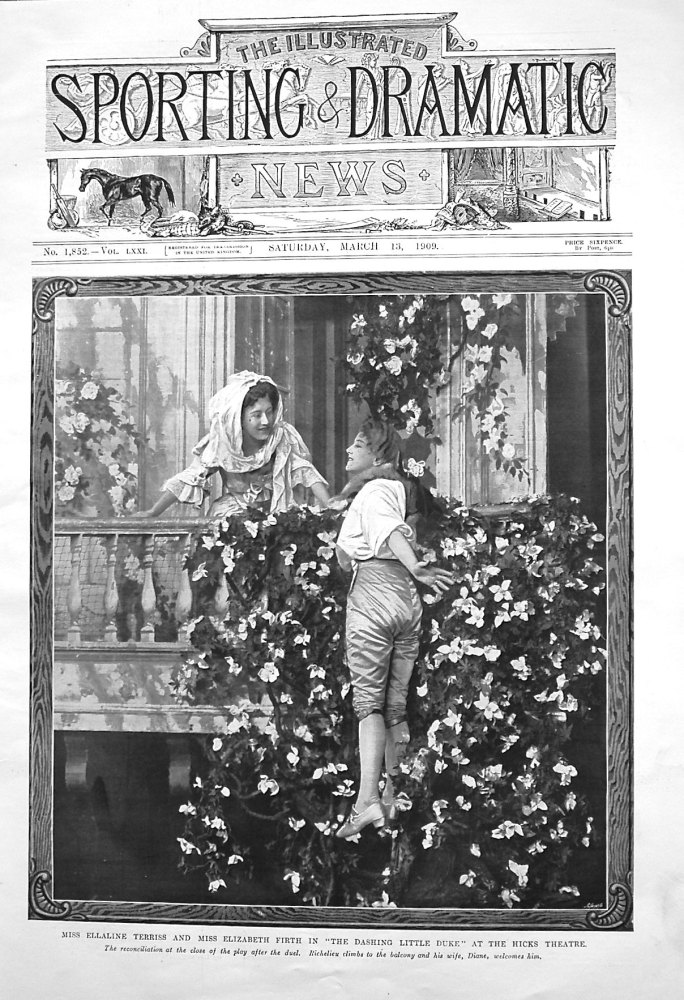 """Miss Elaine Terries and Miss Elizabeth Firth in """"The Dashing Little Duke"""" at the Hicks Theatre. 1909"""