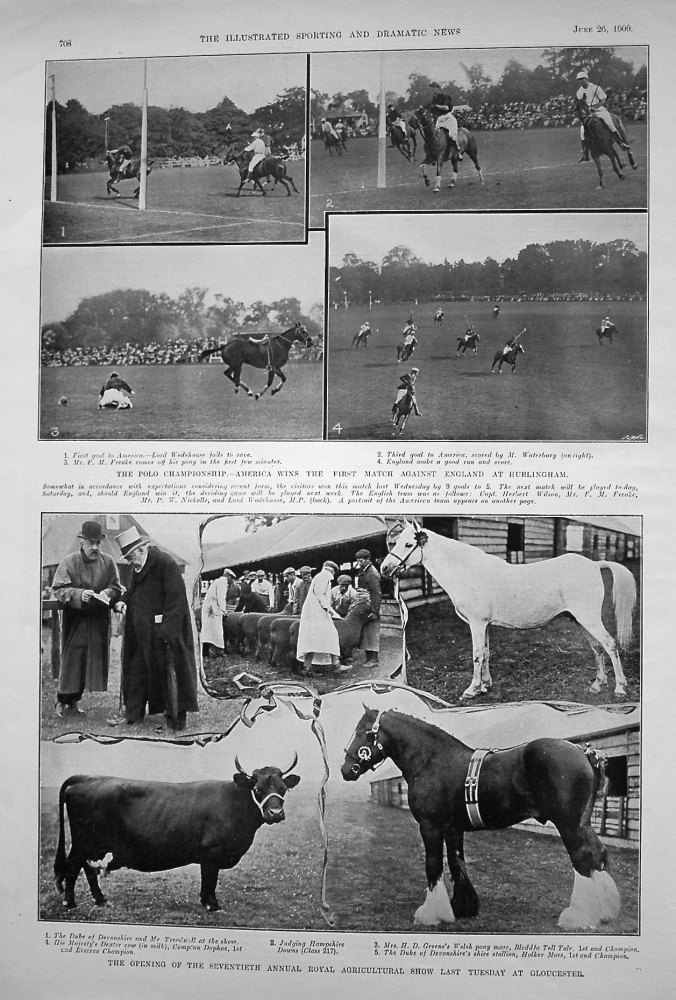 Polo Championship. - America wins the First Match against England at Hurlingham. 1909
