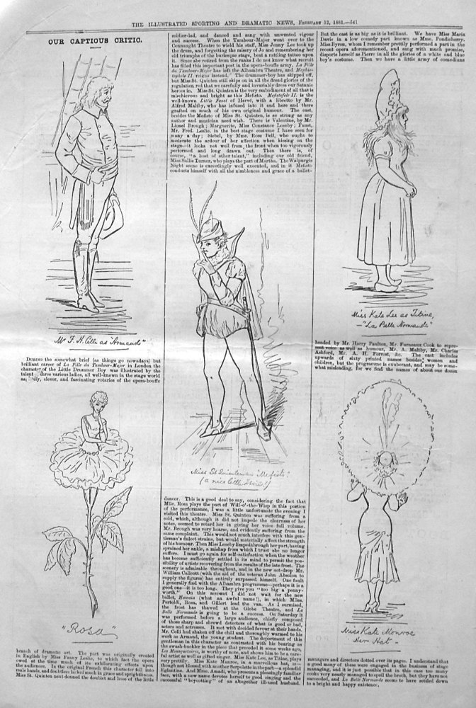 "Our Captious Critic,  February 12th 1881.  :  ""La Fille du Tambour-Major,"" at the Alhambra Theatre.  &  ""La Belle Normande,"" at the Globe Theatre."