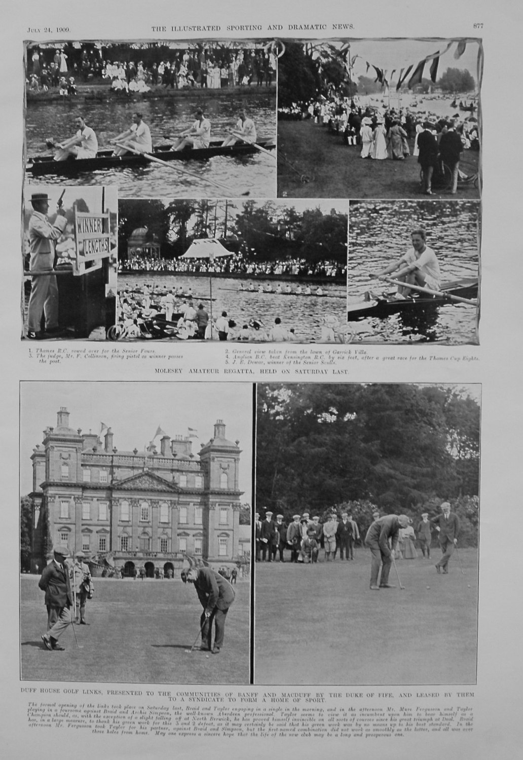 Duff House Golf Links, Presented to the Communities of Banff and Macduff by