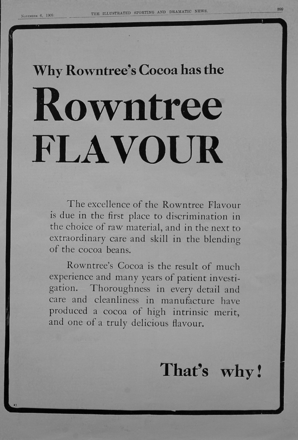 Rowntree's Cocoa. 1909