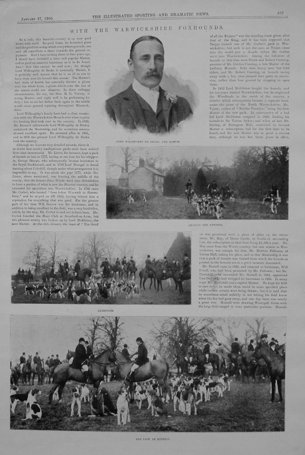 With the Warwickshire Foxhounds. 1900