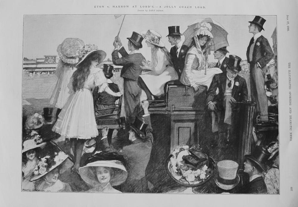 Eton v. Harrow at Lord's. - A Jolly Coach Load. 1909