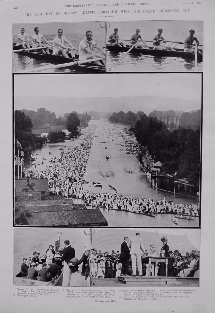 Last Day of Henley Regatta. - Belgium wins the Grand Challenge Cup. 1909