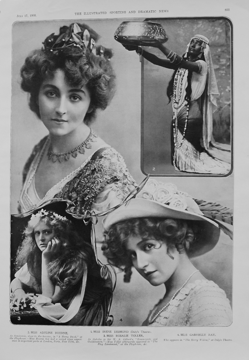 Actresses from the Stage. July 17th 1909.