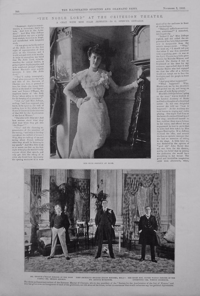 """The Noble Lord"" at the Criterion Theatre. 1900. (A Chat with Miss Ellis Jeffreys.- by G. Spencer Edwards.)"