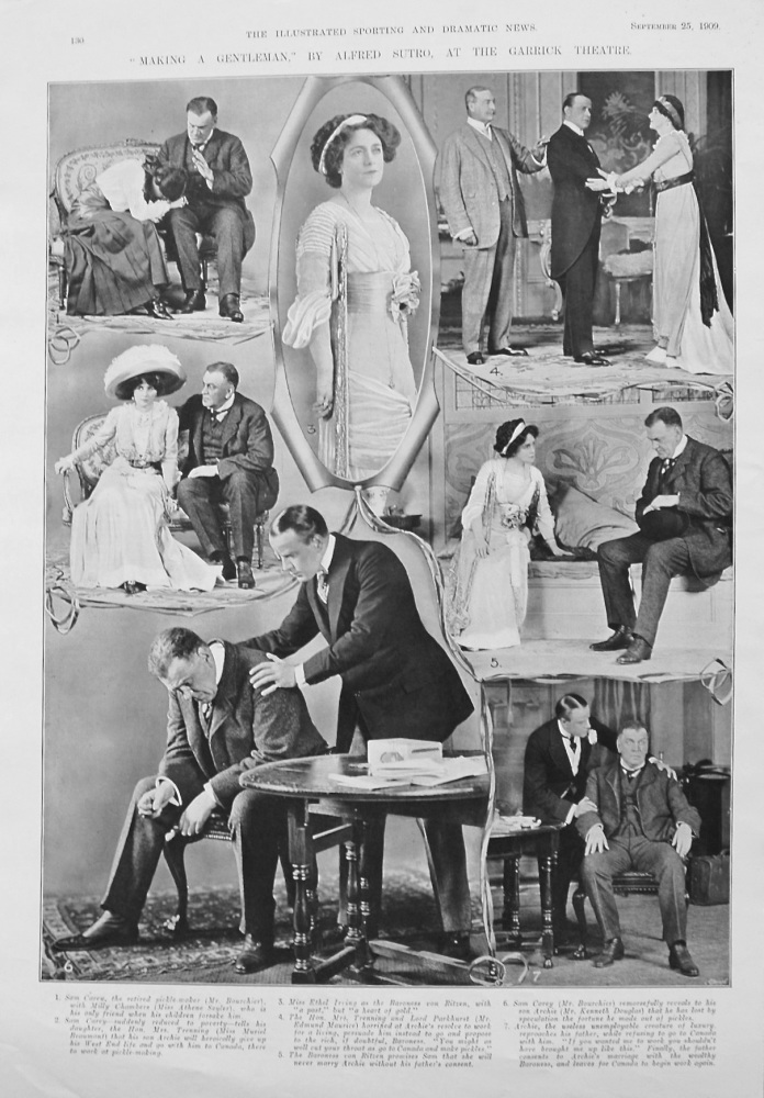 """""""Making a Gentleman,"""" by Alfred Sutro, at the Garrick Theatre. 1909"""