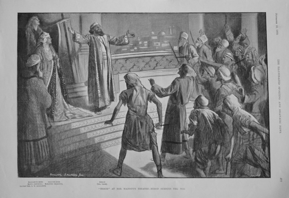 """""""Herod"""" at Her Majesty's Theatre - Herod Subdues the Mob. 1900"""