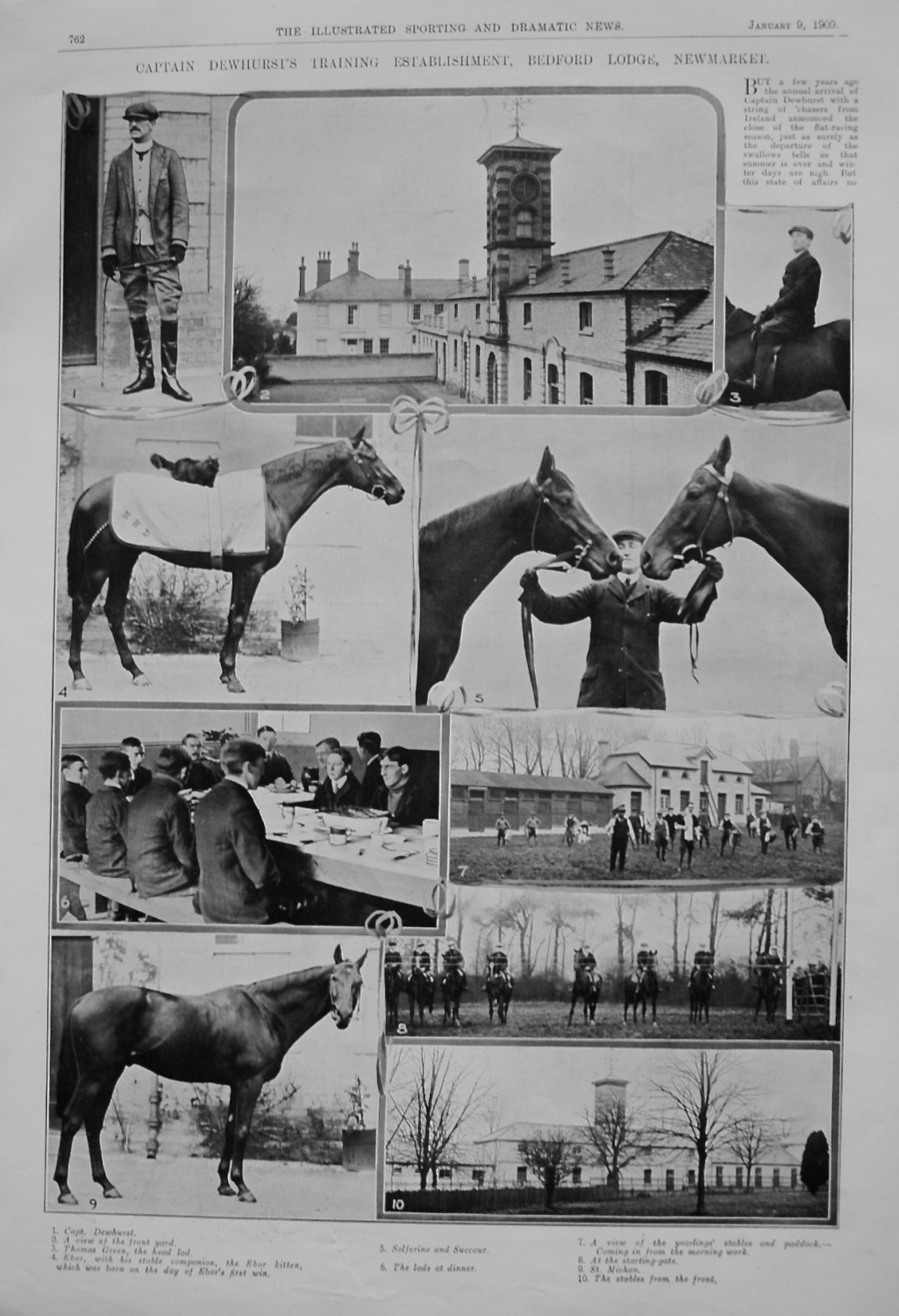 Captain Dewhurst's Training Establishment, Bedford Lodge, Newmarket. 1909