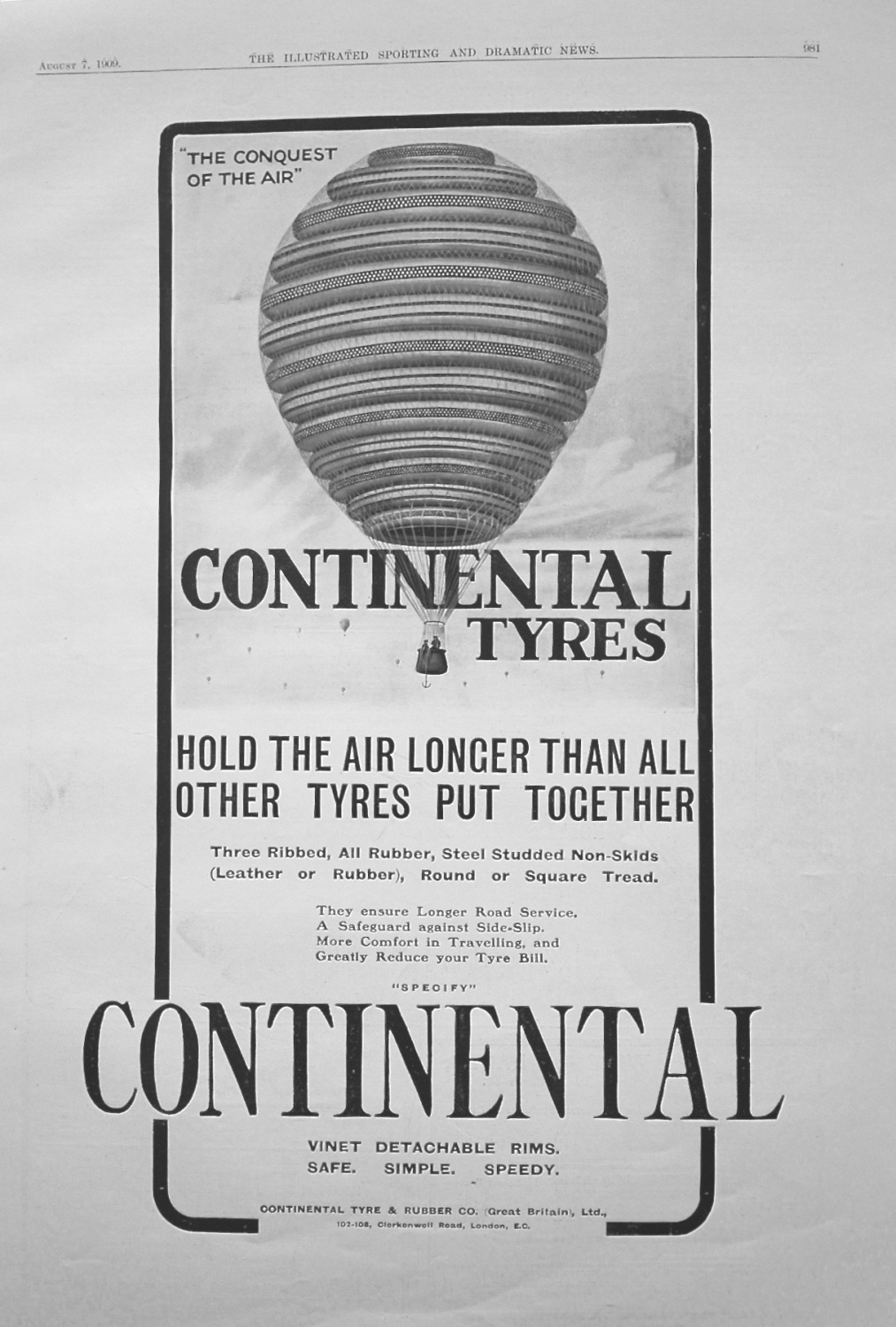 Continental Tyres. 1909