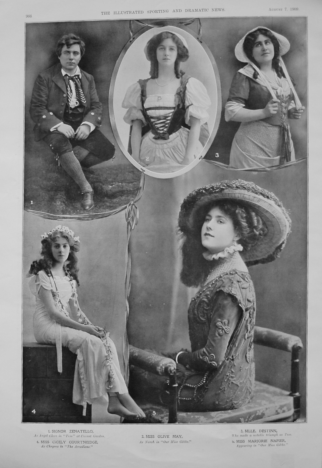 Actresses from the Stage. August 7th 1909.