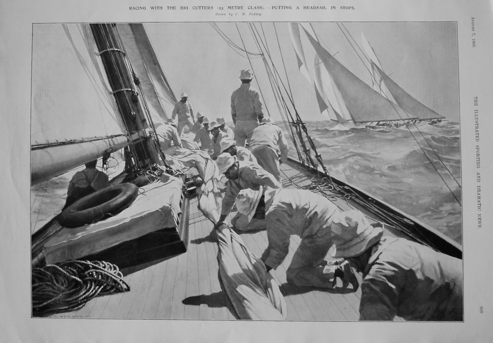 Racing with the Big Cutters (23 Metre Class). - Putting a Headsail in Stops