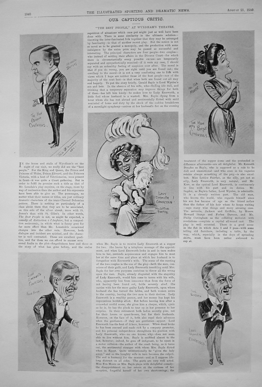Our Captious Critic. August 21st 1909