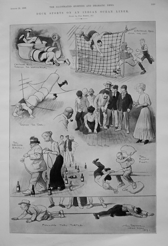 Deck Sports on an Indian Ocean Liner. 1909