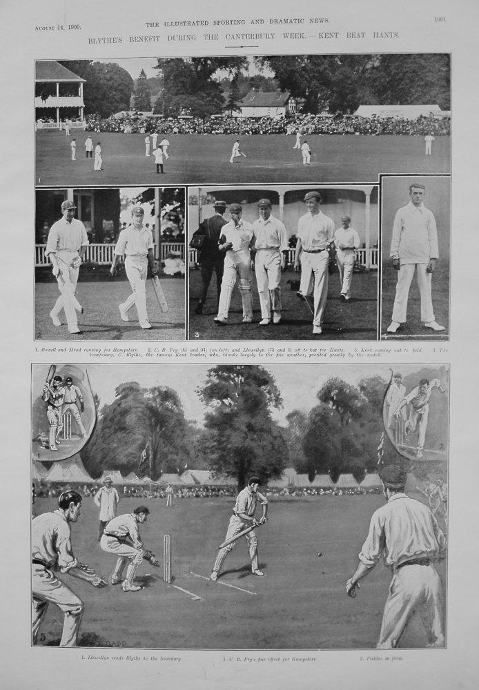 Blythe's Benefit During the Canterbury Week. - Kent Beat Hants. 1909