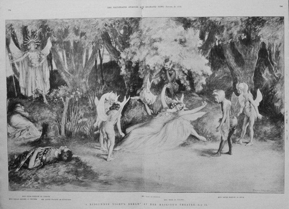 """""""A Midsummer Night's Dream"""" At Her Majesty's Theatre. -Act II. 1900"""