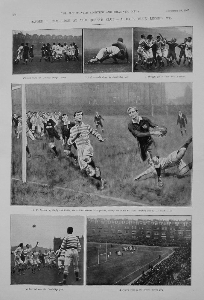 Oxford v. Cambridge at the Queen's Club.- A Dark Blue Record Win. 1909. (Rugby).