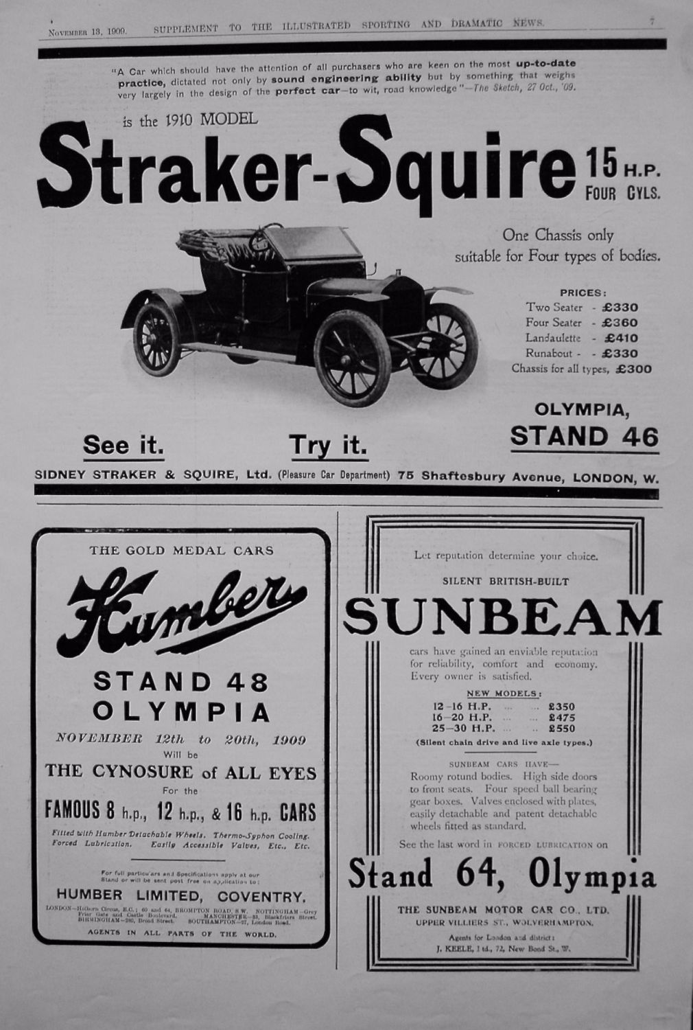 Motoring Adverts. November 1909.