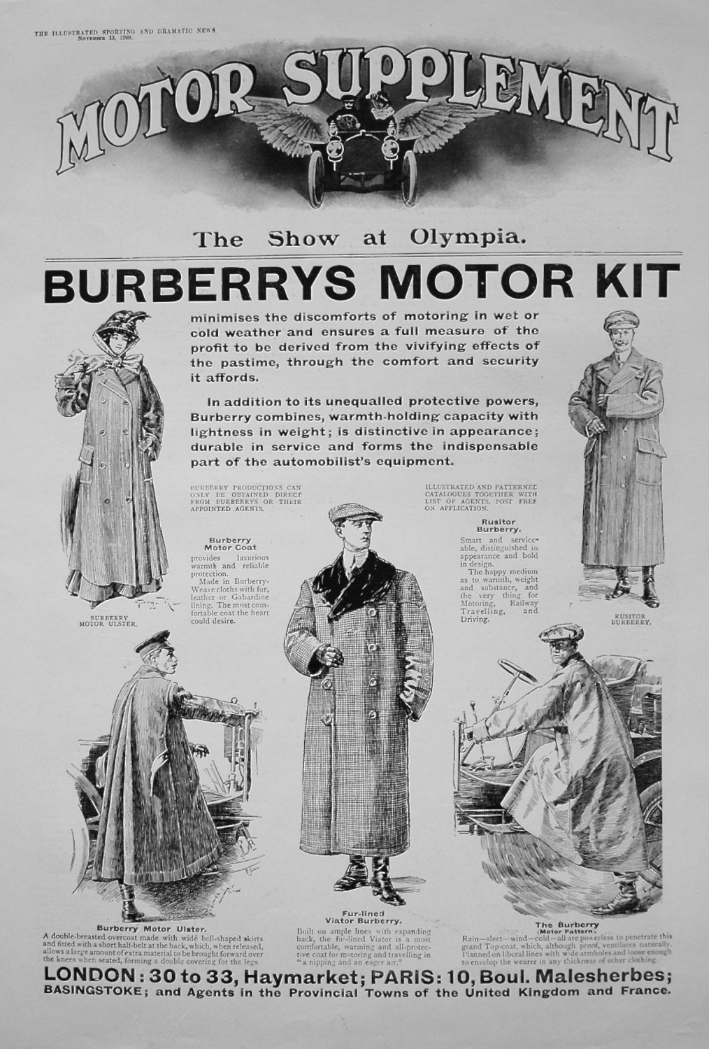 Burberrys Motor Kit. November 13th 1909