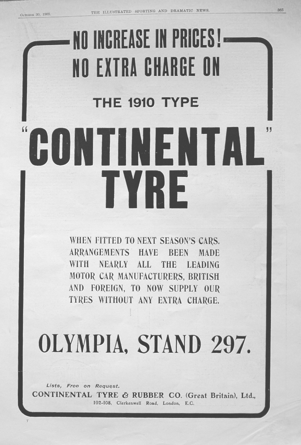 Continental Tyre. 1909