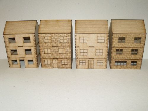 Three storey houses - 28mm scale - pack of 4