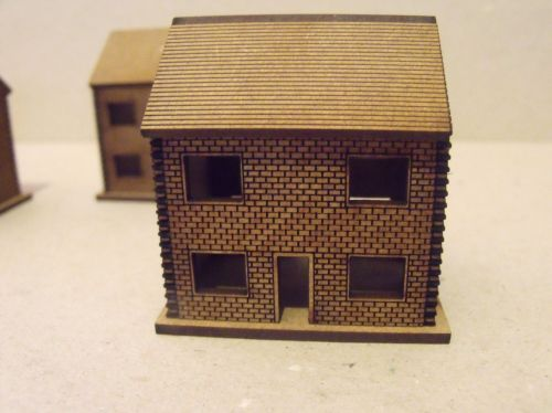 5x 10mm Brick houses cut out windows