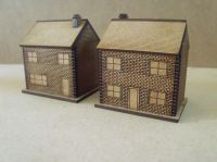 5x 10mm Brick houses with windows