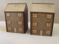 5x 10mm brick Town Houses with etched windows (Three Storey)