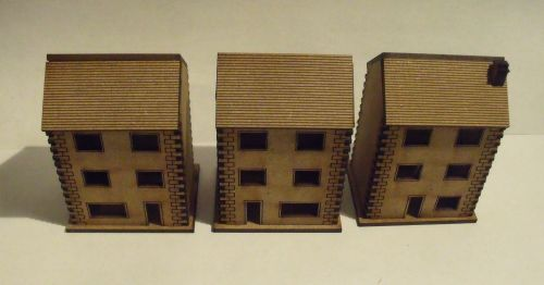 5x 10mm Stone Town Houses with cut out windows (Three Storey)