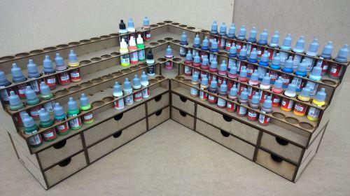 Corner Work Area, 2 Bottle Stands, 2 Draws and Corner Unit