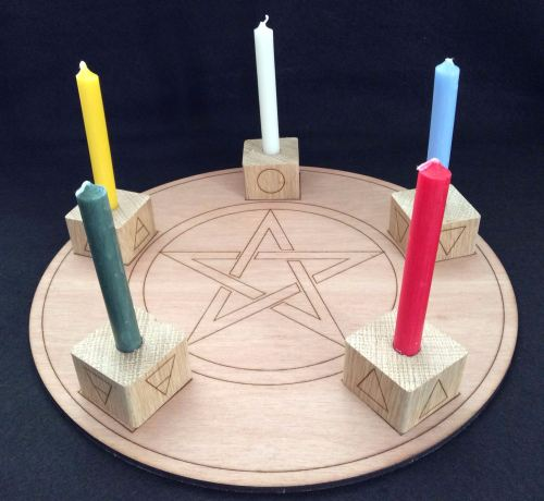 Handcrafted Altar Board with Pentagram and Elements Candle Holders