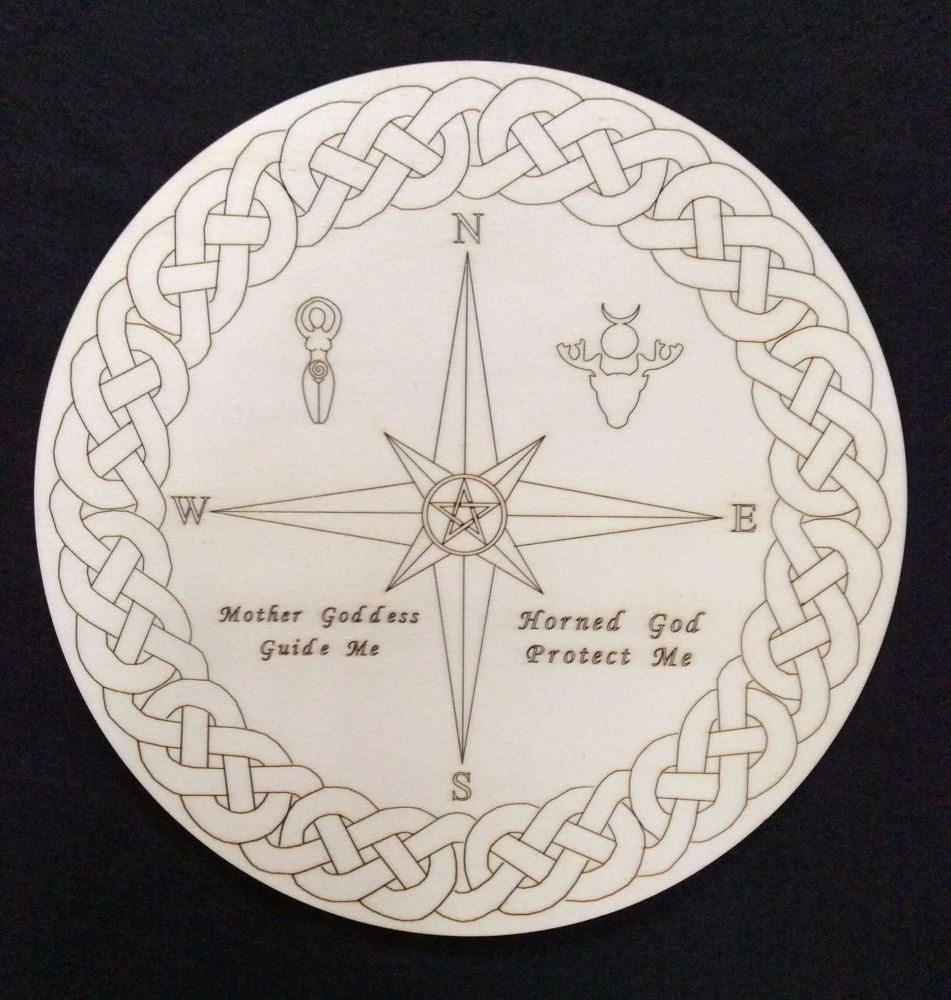 Stunning Altar Board with Compass and Goddess and God Symbols