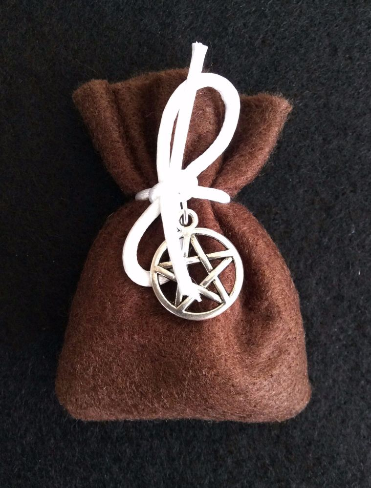 Herb Charm Bag ~ Animal Healing ~ With Pentagram Charm