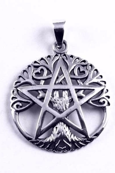 Tree of Life and Pentagram 925 Sterling Silver Pendant and Black Cord