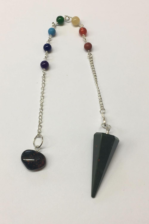 Bloodstone Crystal Pendulum and Chakra Bracelet #2