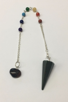 Bloodstone Crystal Pendulum and Chakra Bracelet #2