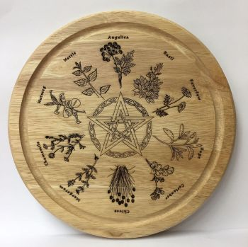 Handcrafted Herb and Pentagram Kitchen Board