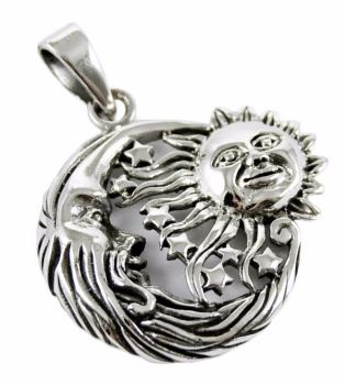 Sun, Moon and Stars 925 Sterling Silver Pendant