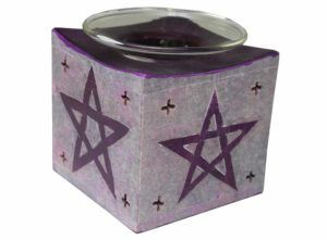 Stunning Soapstone Oil Burner with Pentagram ~ Purple