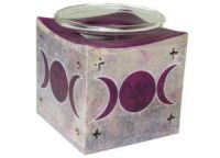 Soapstone Oil Burner with Triple Moon Design ~ Purple (RRP £9.99)