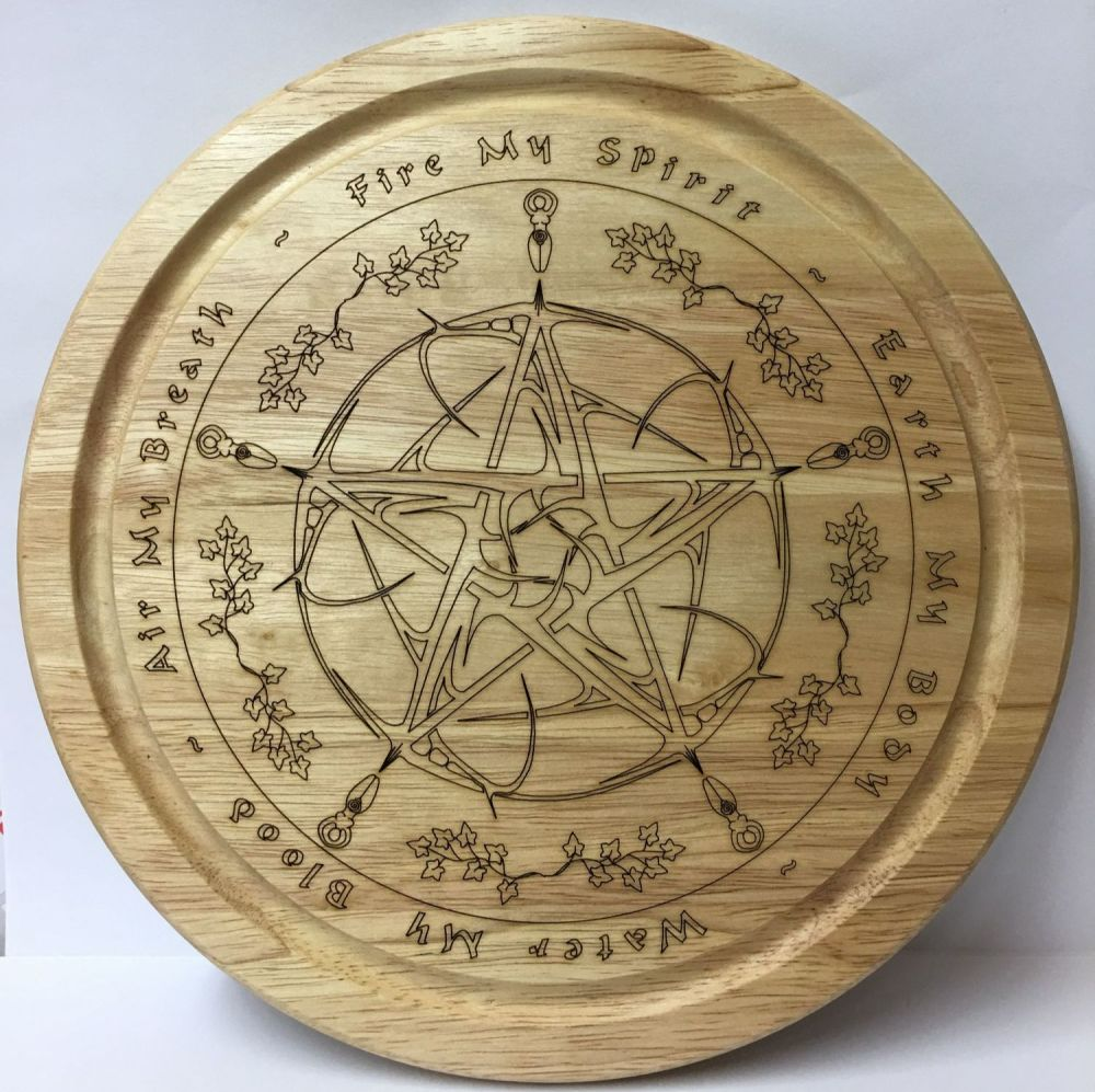 Wooden Kitchen Board with Decorative Pentagram and Goddess Design