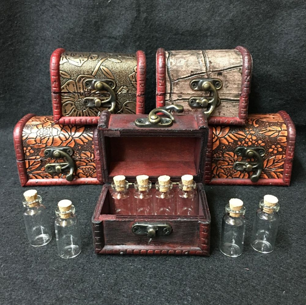 Wooden Chest and 8 Mini Vials filled with magical herb blends