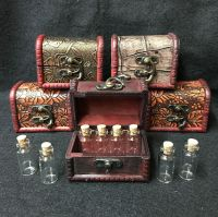 Wooden Chest and 8 Mini Glass Vials with Corks