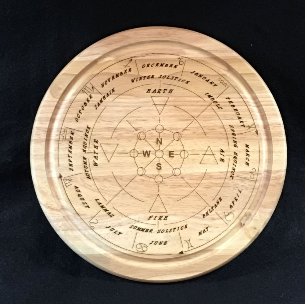 Wheel of the Year Wooden Board with Compass, Moon Phases and Elements