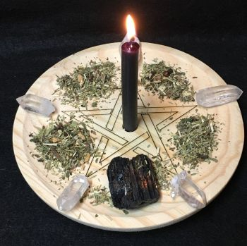 A Rustic Hand Crafted Wooden Spell Casting Plate with Pentagram