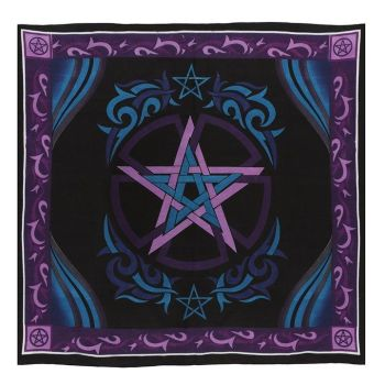Blue and Purple Altar Cloth with Pentagram 100cm