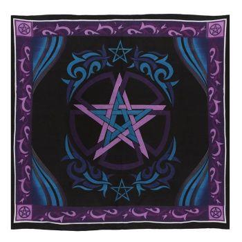 Blue and Purple Altar Cloth with Pentagram 100cm